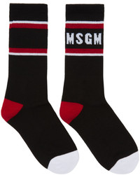 MSGM Black Colorblock Logo Socks