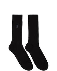 Burberry Black Embroidered Monogram Socks