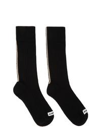 Jil Sander Black Logo Patch Socks