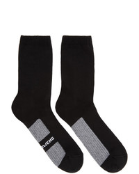Rick Owens Black Logo Stripe Socks