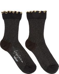 Yohji Yamamoto Black Lurex Socks