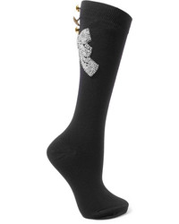 Dolce & Gabbana Embellished Wool Blend Socks Black