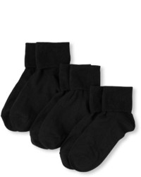 Children's Place Girls Basic Turn Cuff Socks 3 Pack