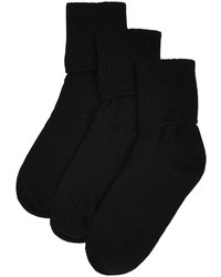 Jefferies Socks Jefferies 3 Pack Seamless Turn Cuff Black 12 6