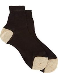 Maria La Rosa Metallic Trim Socks Black