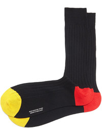 Pantherella Mid Calf Contrast Toeheel Ribbed Socks Black