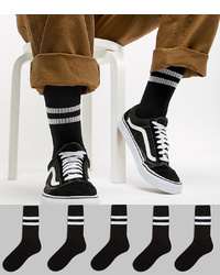 ASOS DESIGN Sport Style Socks 5 Pack In Black With