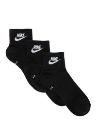 Nike Three Pack Black Everyday Essential Ankle Socks