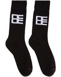 Baja East Three Pack Black Logo Socks
