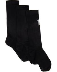 11 By Boris Bidjan Saberi Three Pack Black Logo Type Socks