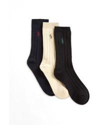 Ralph Lauren Toddlers Little Boys Boys Three Pair Slack Ribbed Socks