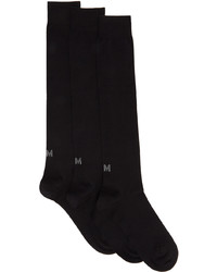 Ermenegildo Zegna Two Pack Black Techmerino Knee Socks