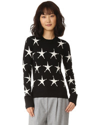 Black Star Print Crew-neck Sweater