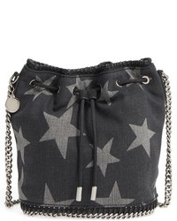Stella McCartney Falabella Star Print Denim Bucket Bag Black