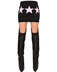 Givenchy Denim Mini Skirt W Stars Inserts