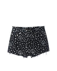 Black Star Print Denim Shorts