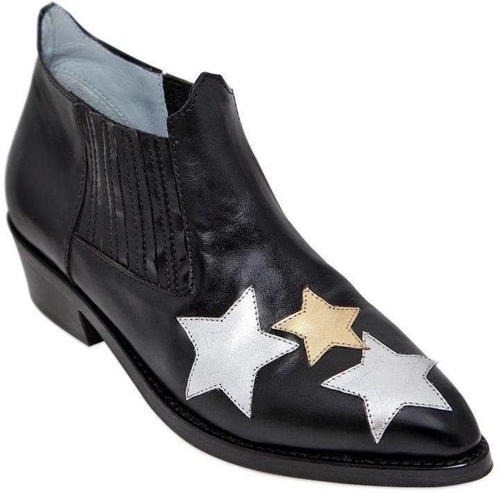 Chiara Ferragni Embroidered Star Leather Boot qPcVCGJB