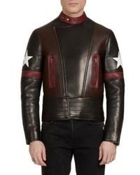 Givenchy Lamb Leather Moto Star Print Jacket