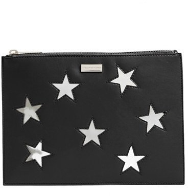 e351df08e56 ... Print Leather Clutches Stella McCartney Lame Stars Faux Leather Zip  Pouch Black ...