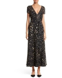 RED Valentino Lame Star Wrap Maxi Dress