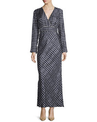 Max Mara Long Sleeve Star Print Maxi Dress Black