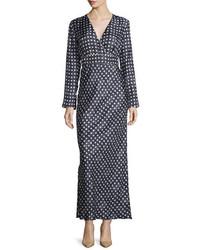 Max Mara Long Sleeve Star Print Maxi Dress Black