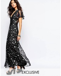 Reclaimed Vintage Sexy Plunge Neck Maxi Dress In Metallic Star Print