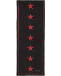 Givenchy Black Red Jacquard Stars Scarf