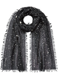 Barbara Bui Star Print Scarf With Fringe