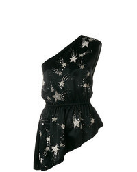 Black Star Print Sleeveless Top