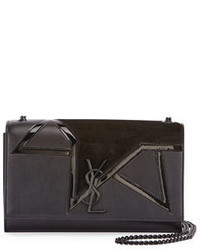Saint Laurent Kate Monogram Medium Suede Star Chain Shoulder Bag Black