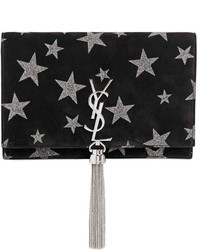 Saint Laurent Kate Monogram Stars Suede Chain Bag