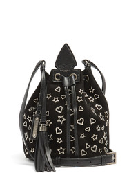 Saint Laurent Anja Tassel Star And Heart Suede Bucket Bag