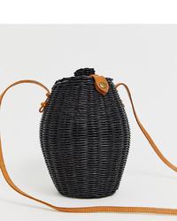 Ellen & James Stella Handmade Black Straw Honeypot Cross Body Bag