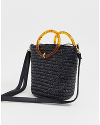 New Look Straw Resin Handle Bucket Bag In Black