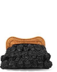 Kayu Monaco Rattan Trimmed Straw Clutch Black