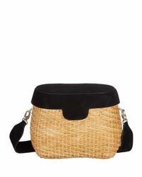 Edie Parker Jane Suede Straw Basket Crossbody Bag Black