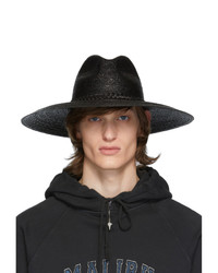 Saint Laurent Black Large Straw Hat