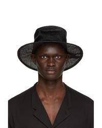 Yohji Yamamoto Black Straw Crush Hat