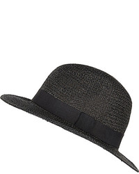 River Island Black Straw Fedora Hat