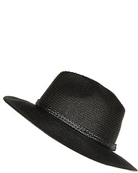 River Island Black Straw Plaited Trim Fedora Hat