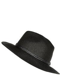River Island Black Straw Plaited Trim Fedora Hat