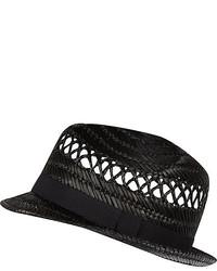 River Island Black Straw Trilby Hat