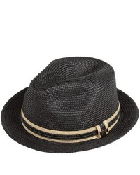 Cov-ver Straw Braid Fedora Hat Black