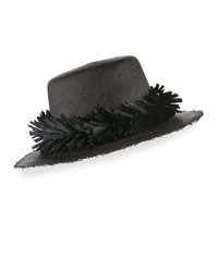 Gigi Burris Brigette Straw Boater Hat Black