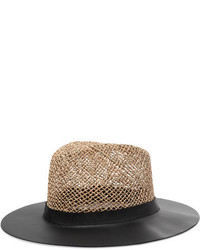 Eugenia Kim James Leather And Woven Straw Sunhat Black