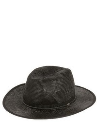 The Kooples Leather Trim Straw Hat Black