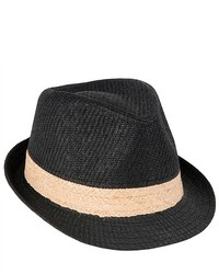 Luxury Lane Black Straw Fedora Trilby Hat With Contrast Woven Band