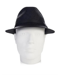 4642ccb5eac ... Gucci Straw Fedora And Leather Trilby
