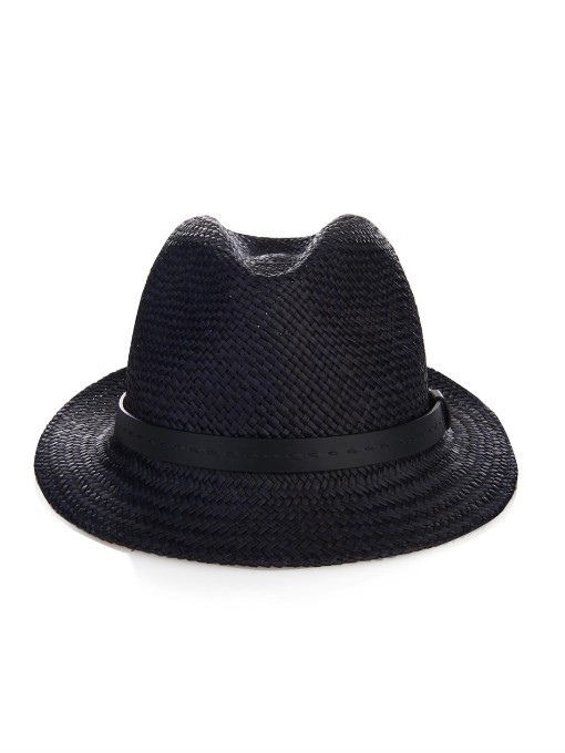 f0e2992cd2f ... Hats Gucci Straw Fedora And Leather Trilby ...